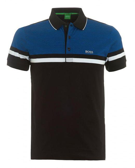 BOSS Green | Paule 5 Polo, Central Stripe Black Polo Shirt for Men | Lyst