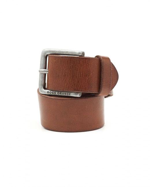 BOSS Orange | Brown Jeek Basic Choc Leather Belt for Men | Lyst
