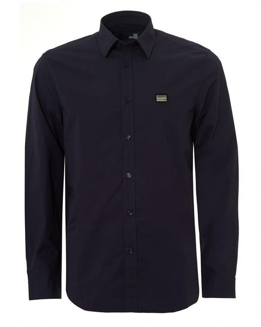 Love Moschino - Metal Tab Logo Stretch Cotton Blue Shirt for Men - Lyst