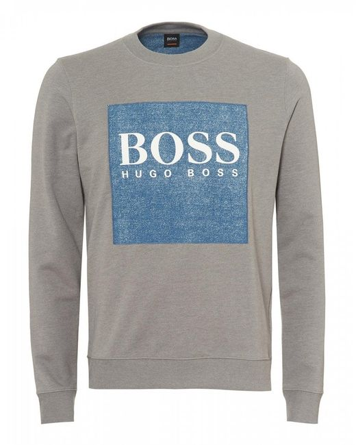 BOSS - Gray Wedford Sweatshirt, Denim Patch Grey Sweat for Men - Lyst