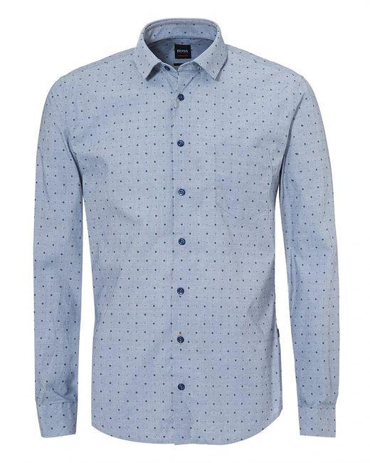 BOSS - Epop-1 Sky Navy Blue Long Sleeve Slim Fit Shirt for Men - Lyst