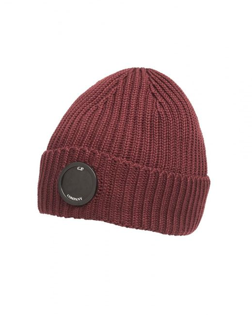 C P Company - Burgundy Red Goggle Lens Ribbed Beanie Hat for Men - Lyst