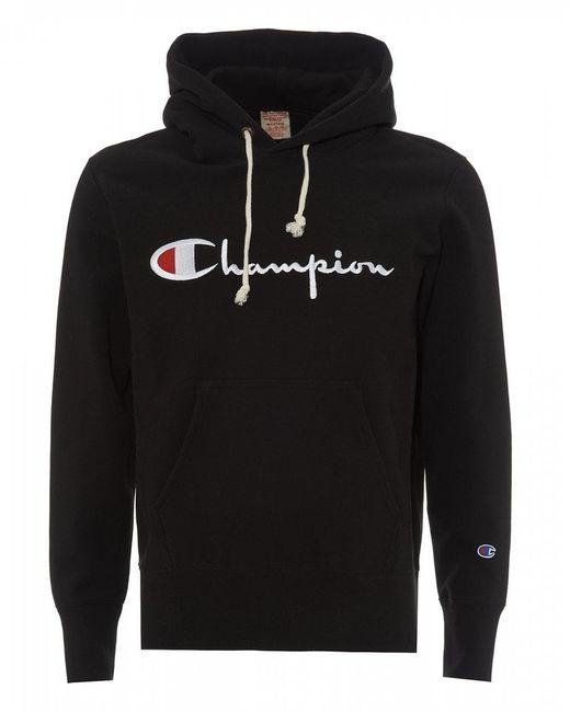 Champion - Black Script Logo Hoody for Men - Lyst