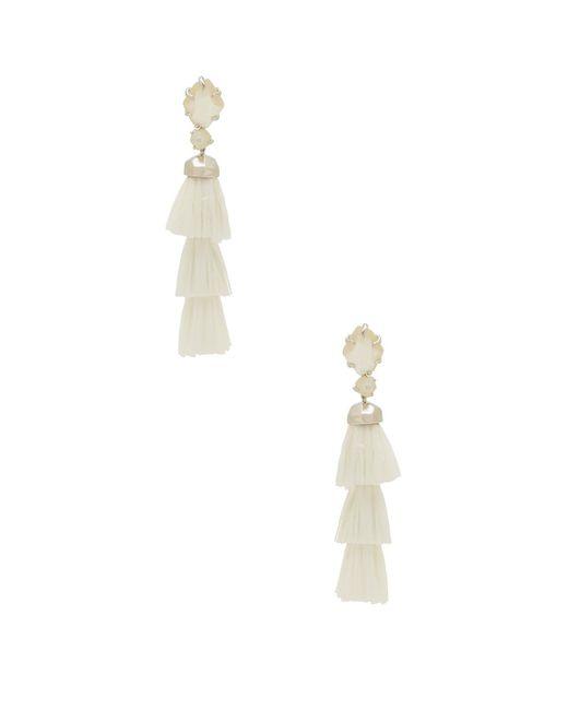 Kendra Scott - White Denise Earrings In Metallic Silver. - Lyst