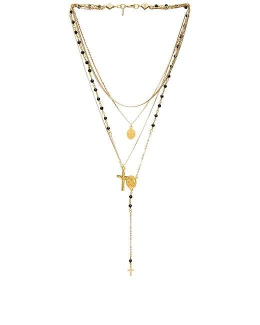 Vanessa Mooney | Metallic Multi Layered Chain & Stone Rosary | Lyst