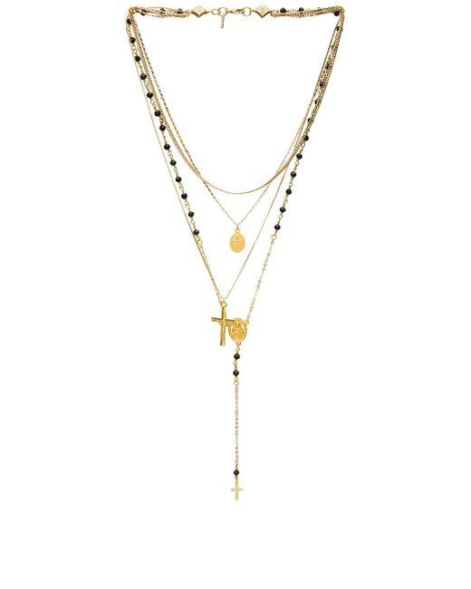 Vanessa Mooney - Multi Layered Chain & Stone Rosary In Metallic Gold. - Lyst