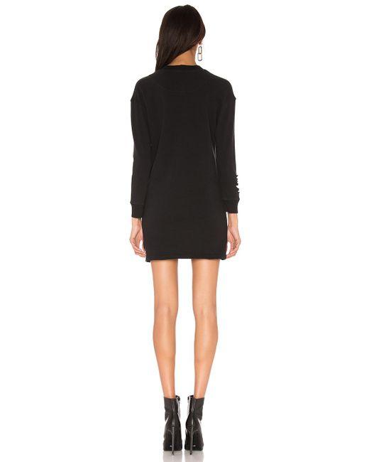 cfbf7f04223 ... Monrow - Black Distressed Sweatshirt Dress - Lyst
