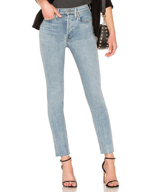Re/done - Blue Originals High Rise Ankle Crop - Lyst
