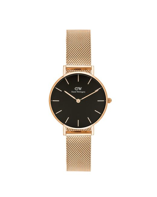 Daniel Wellington - Metallic Classic Petite Melrose With Black Face And Rose Gold Mesh Strap And Case Watch - Lyst