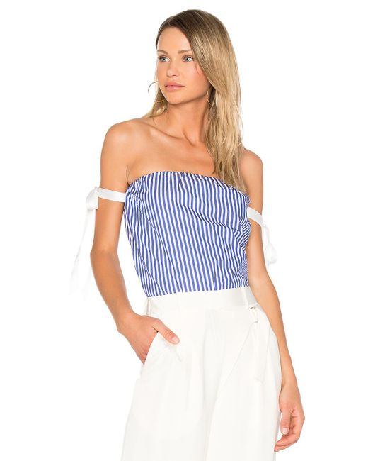 RTA | Blue Josephine Off Shoulder Top | Lyst