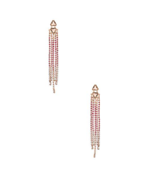 Rebecca Minkoff - Gemma Slim Crystal Fringe Earrings In Metallic Copper. - Lyst