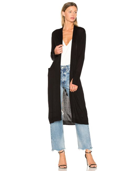 Halston Heritage | Black Open Front Duster Cardigan | Lyst