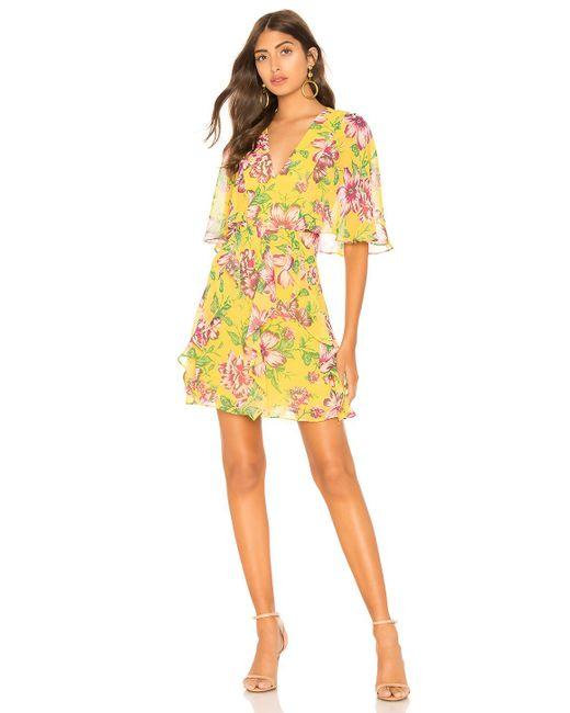 BCBGMAXAZRIA - Yellow Mabel Floral Dress - Lyst