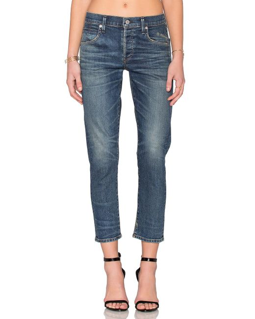 Citizens of Humanity | Blue Elsa Mid Rise Slim Crop | Lyst