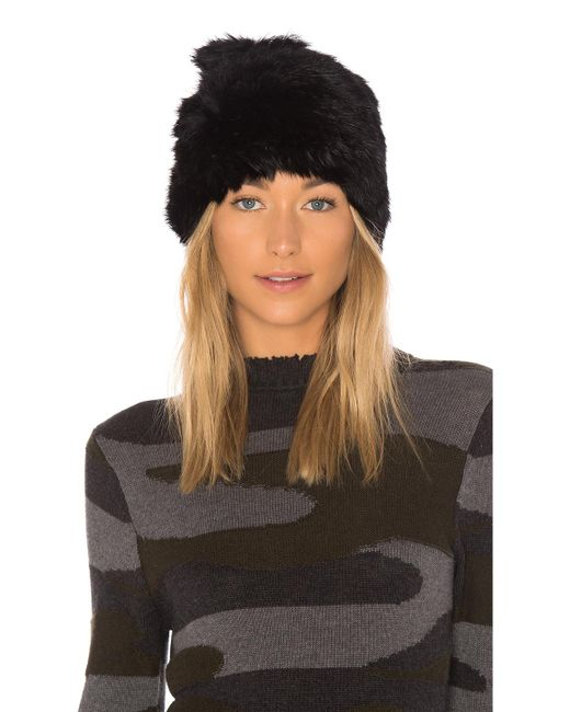 Hat Attack - Black All Rabbit Slouchy Beanie With Fur Pom - Lyst