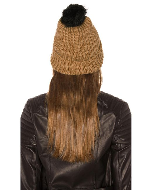 d54ad163668 ... Hat Attack - Brown Tonal Pom Beanie - Lyst ...