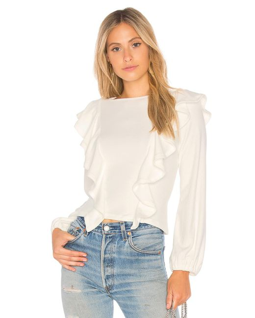 Rachel Pally - White Luxe Rib Ruffle Top - Lyst