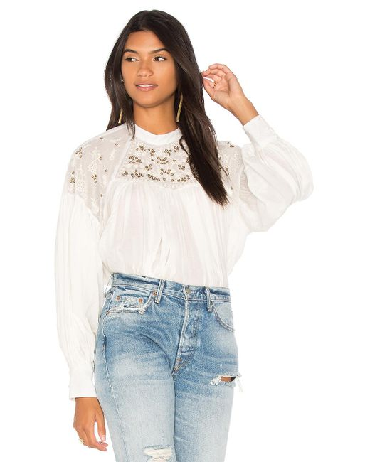 Free People | White Have It My Way Embroidered Top | Lyst