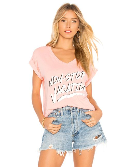 Wildfox - Pink Non Stop Romeo V Neck Tee - Lyst