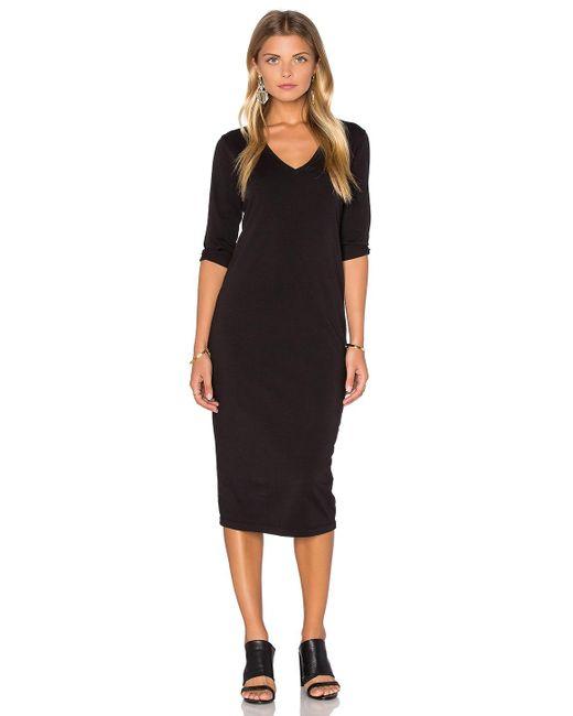 Michael Stars | Black 3/4 Sleeve V Neck Midi Dress | Lyst