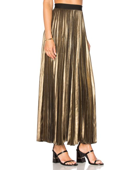 bcbgmaxazria pleated maxi skirt in black black gold lyst