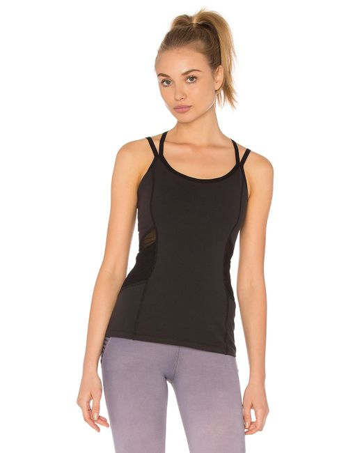 Beyond Yoga Quilted Arrow Mesh Cami In Black