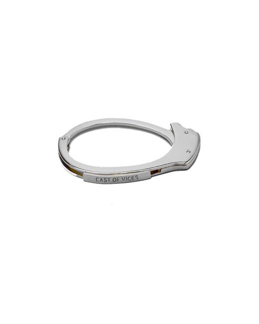 Cast Of Vices | Metallic Handcuff Rhodium Bracelet for Men | Lyst