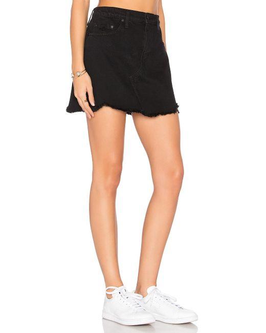 nobody denim prairie skirt in black lyst