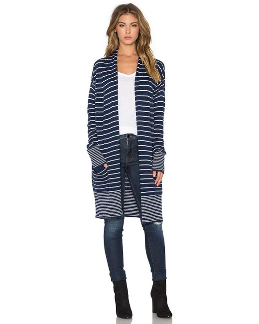 Splendid | Blue Striped Knitted Cardigan | Lyst