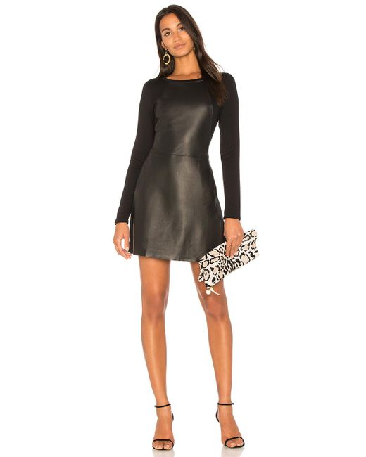 Michael Stars | Black Leather Mini Dress | Lyst