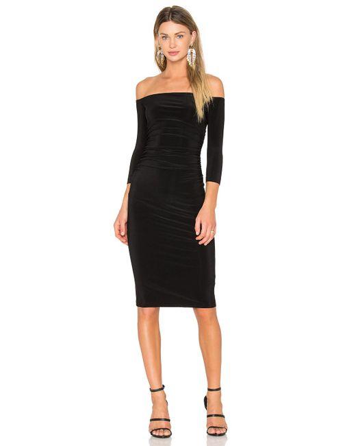 Norma Kamali - Off Shoulder Shirred Dress In Black - Lyst