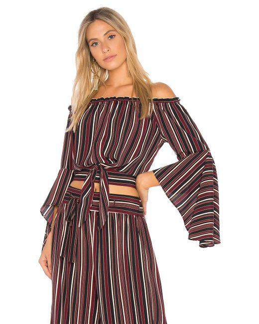 Band Of Gypsies - Multicolor Pinstripe Tie Front Top - Lyst