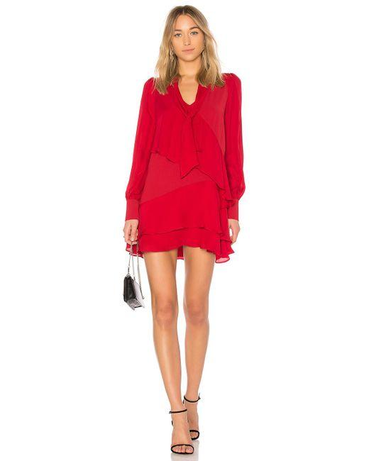 Parker Kenji Combo Dress In Red