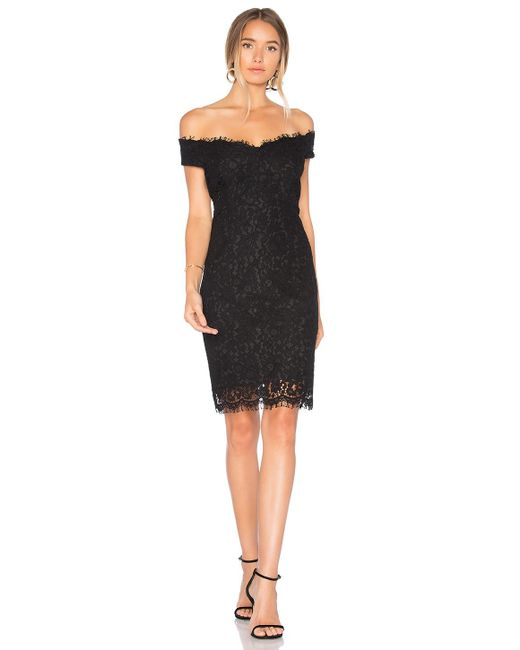 Women's Black Tara Lace Off Shoulder Dress by Bardot