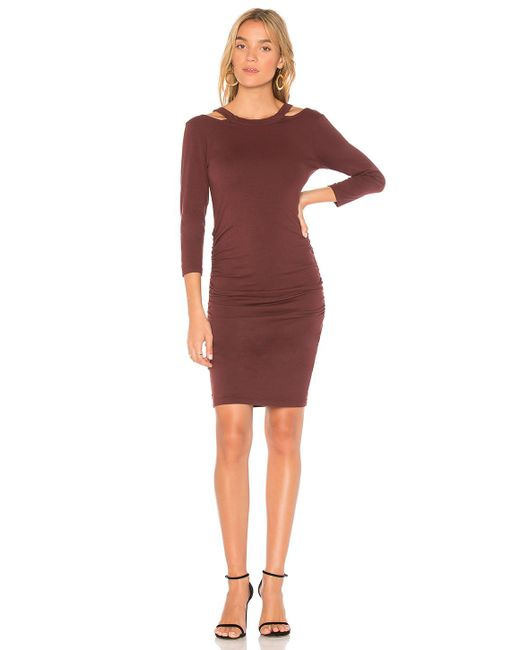 Michael Stars | Red Round Neck Bodycon Dress | Lyst