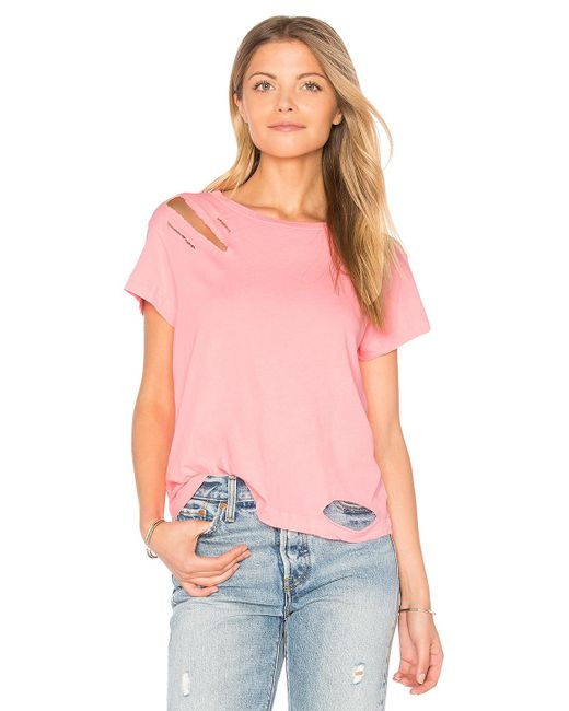 Wildfox | Pink Destroyed Tee | Lyst