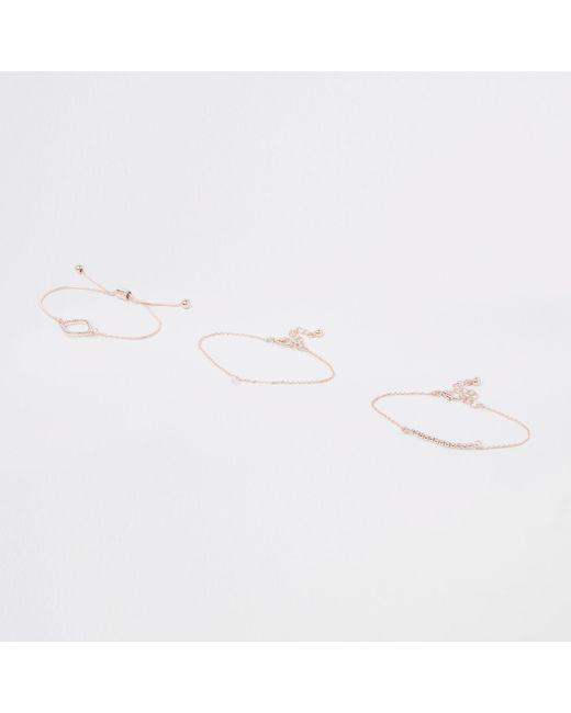 River Island - Metallic Rose Gold Rhinestone Paved Bracelet Pack - Lyst
