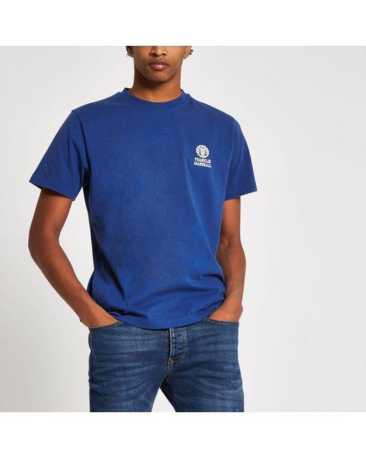 887f3fc2758f River Island - Franklin & Marshall Blue Chest Logo T-shirt for Men - Lyst  ...