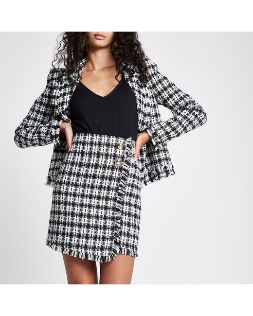 River Island - Black Check Boucle Button Mini Skirt - Lyst