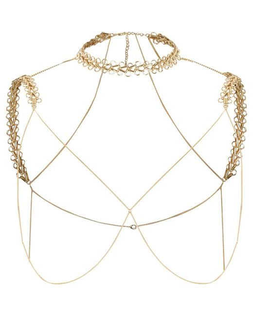 River Island | Metallic Gold Tone Chain Shoulder And Choker Harness | Lyst