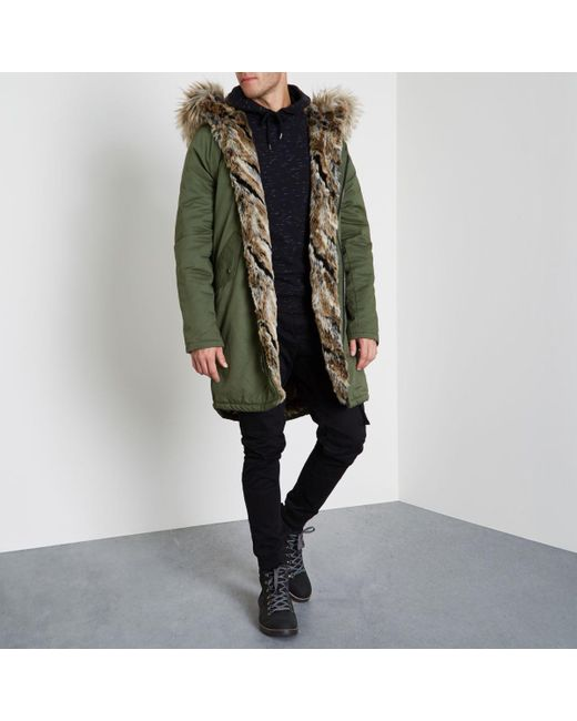 River island Khaki Green Faux Fur Trim Hooded Parka in Green for ...