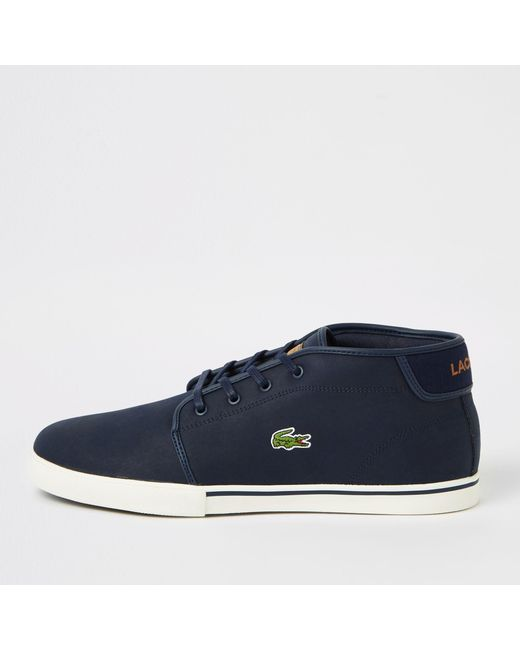 abf85384ca16 River Island - Blue Lacoste Navy Leather Trainers for Men - Lyst ...