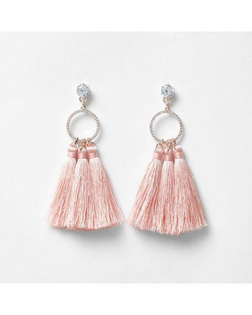 River Island | Light Pink Tassel Drop Hoop Diamante Earrings | Lyst
