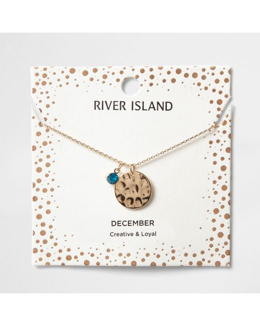 River Island - Blue Gem December Birthstone Necklace - Lyst
