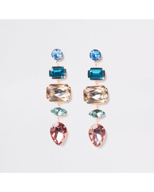 River Island - Metallic Gold Tone Jewel Drop Earring - Lyst
