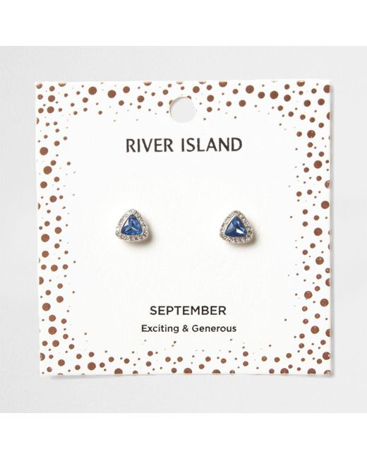 River Island | Blue Gem September Birthstone Stud Earrings | Lyst