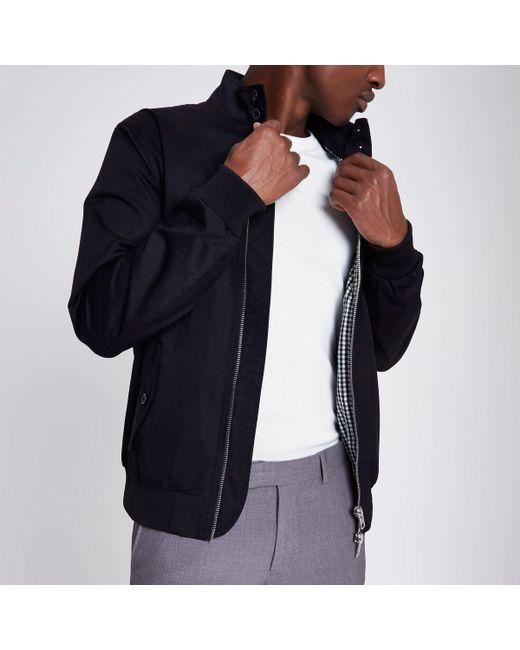 River Island - Black Harrington Jacket for Men - Lyst