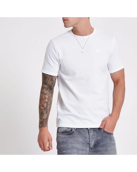 River Island - White Jacquard Slim Fit T-shirt for Men - Lyst