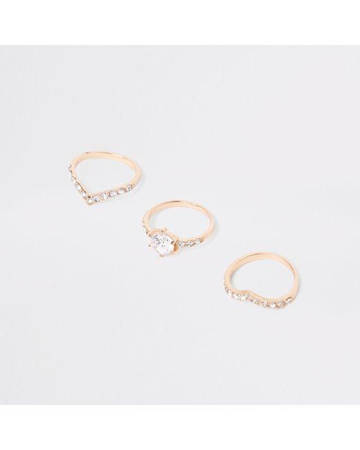 River Island - Metallic Gold Tone Diamante Ring Multipack - Lyst