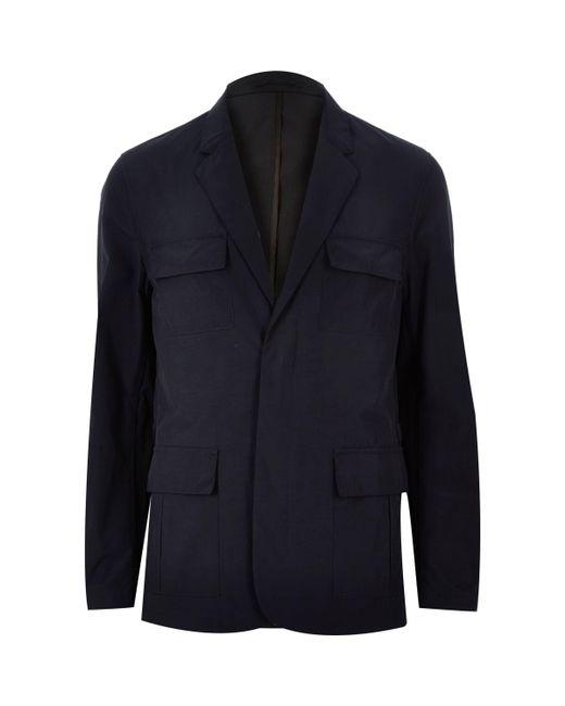 River Island - Blue Navy Blazer Jacket for Men - Lyst